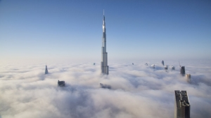 Image #: 27602011    EXCLUSIVE - UNDATED - The world's tallest building pierces through a dense blanket of fog as the famous Dubai skyline disappears as part of a natural phenomenon which occurs just twice a year.  Banker Syed Ali Adeel Bukhari snapped these incredible photos of the 2,700ft Burj Khalifa as the oil-rich city was engulfed in thick fog.  SEE OUR COPY FOR DETAILS.  Pictured: The Burj Khalifa piecing through the fog in Dubai this weekend.  Please byline: Ali Adeel/Solent News  © Ali Adeel/Solent News & Photo Agency UK +44 (0) 2380 458800    /Landov